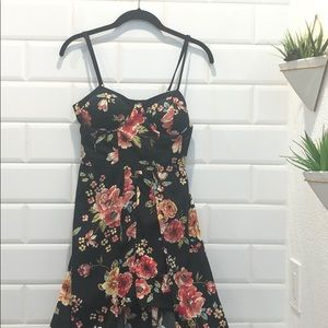 Black & Floral High-low Romper Dress